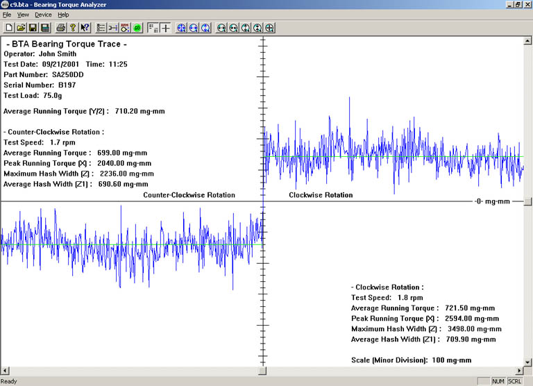 Screenshot of an actual torque trace